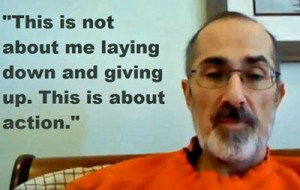 A noticeably thinner Bob Miller in the 8th day of his hunger strike to approve Ampligen urges patients to act