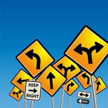 conflicting road sings