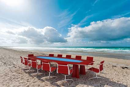 meeting table on a beach