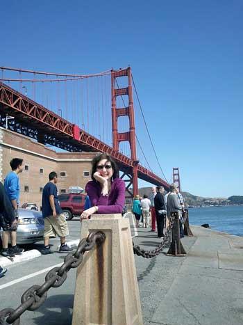 Corinne at the Golden Gate Bridge